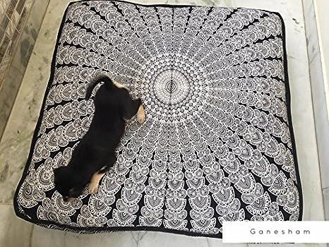 Indio Mandala tapiz perro cama, cojín, Boho suelo funda de almohada cojín de suelo