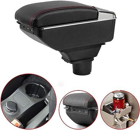 Pour Smart Haut de gamme Voiture Accoudoir Accessoire Avec fonction de charge 7 ports USB Double espace de stockage Noir