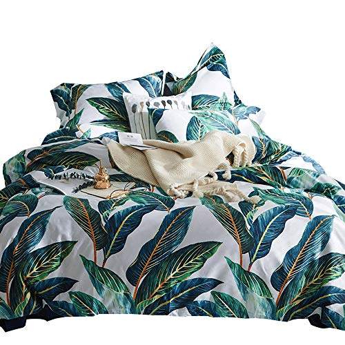 - MKXI Home Duvet Cover Set Button Cloure Vintage Print Quilt Cover Set White King Green Tropical Leaves Pattern Reversible Cotton Luxury Bedding Collection