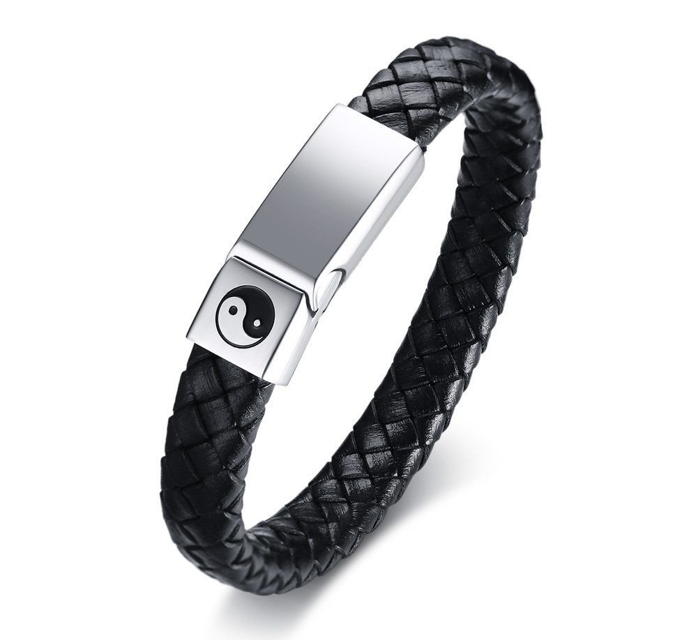 Mealguet Jewelry Stainless Steel Braided Leather Yin-Yang Taiji Symbol Mangetic Clasp Leather Bracelets for Men