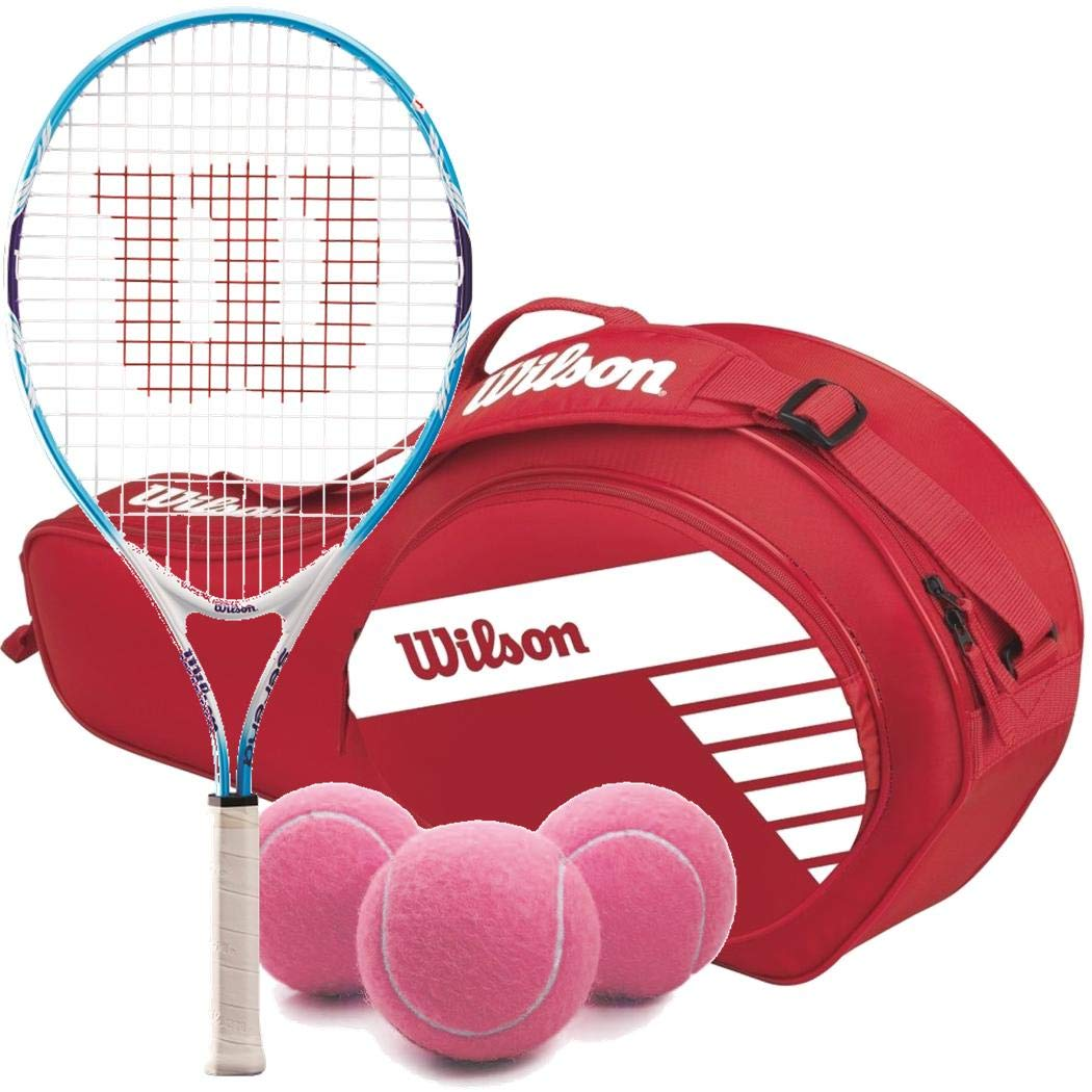 Wilson Serena Williams Girl's 21 Inch Junior Tennis Racquet Bundled with a Red/White Kid's 3-Pack Tennis Bag a Can of Pink Tennis Balls