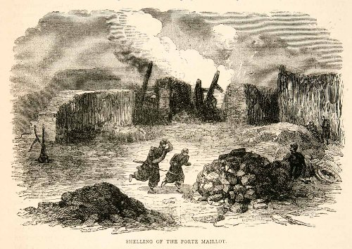 Print Maillot (1874 Wood Engraving Franco-Prussian War Shelling Porte Maillot Smoke Explosion - Original In-Text Wood Engraving)