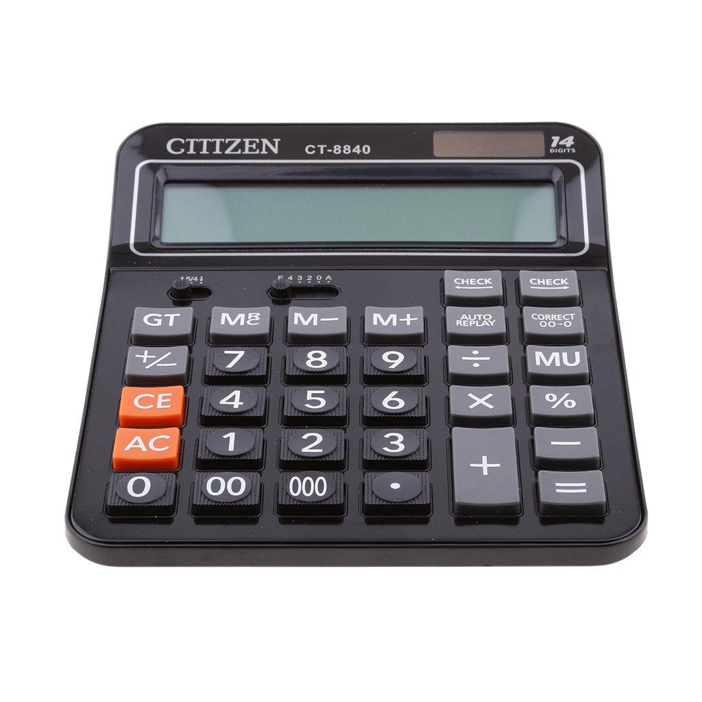 Homyl Professional Standard Calculator Large Calculator Office/Business/ Scientific Desktop Calculator with 14-digit Large Display Solar &Battery Dual Power Black