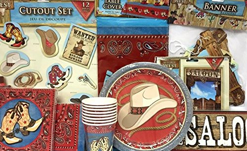 Western Cowboy Cowgirl Birthday or All Occasion Themed Table Party Supply Set 118 (Occasion Supplies)