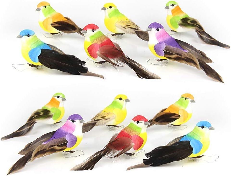 HanYoer 12 Pcs Simulated Birds Ornament Beautiful Animal Bird Decor Animal Statues Tree Lawn Home Garden Decoration