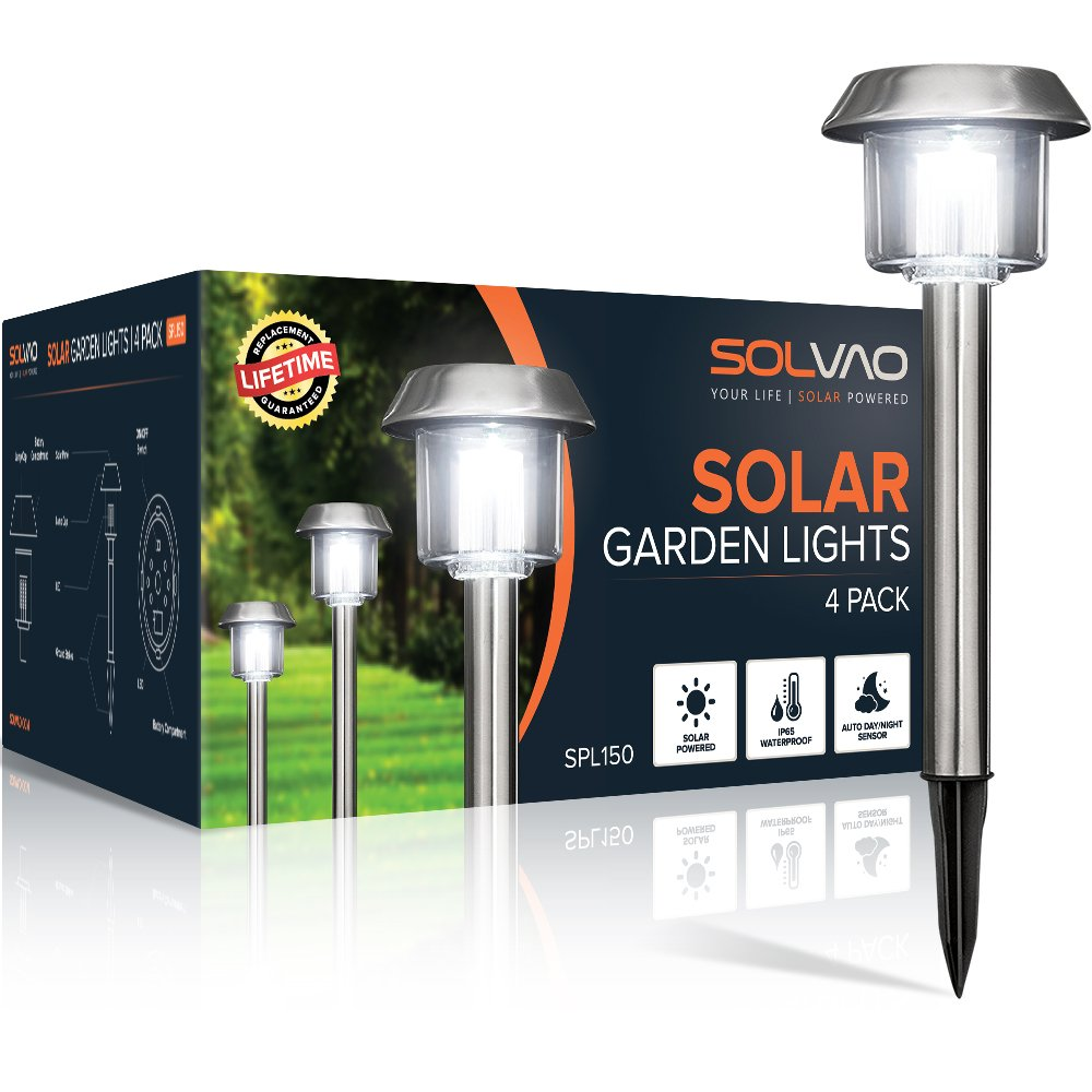 SOLVAO Solar Path Lights (Upgraded) - Outdoor Solar Lights for Walkway, Lawn, Landscape & Pathway - Best Decorative Exterior Yard & Garden Lamps w/in-Ground Stakes for Outside Use (4 Pack) by SOLVAO