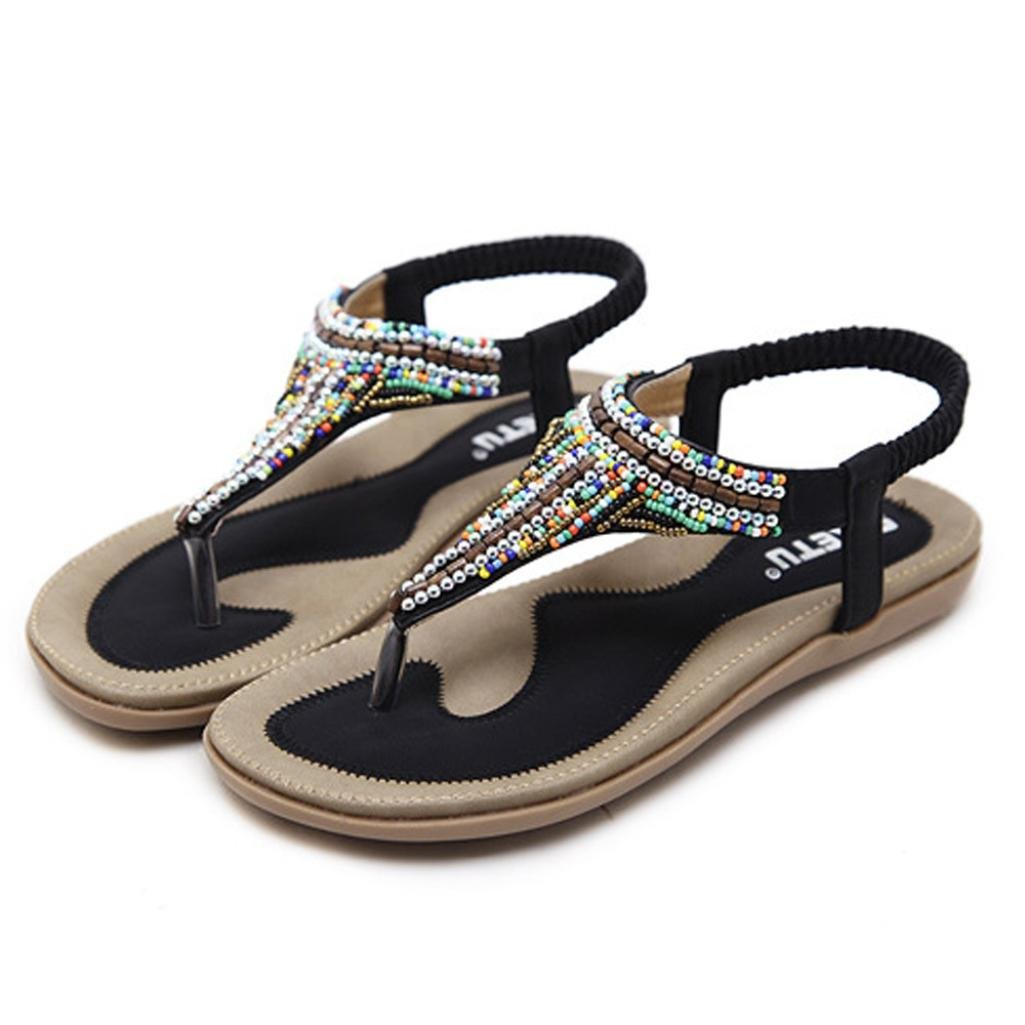49bcb108165575 Challen Women s Bohemia Rhinestone Flip Flops Beach Sandals Shoes Size for 3 -6