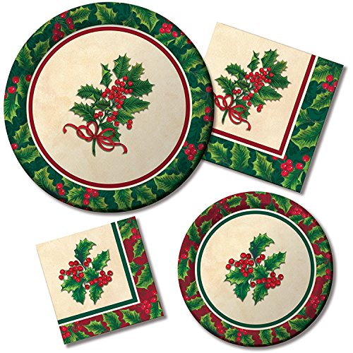 Boughs of Holly Christmas Holiday Party Supply Bundle for 16 Guests - Includes Plates and Napkins Bough Of Holly