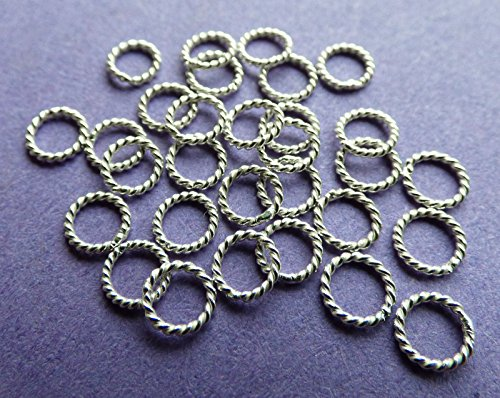 (New 4mm 21ga 925 Sterling Silver Twisted Closed Jump Rings 12pcs)
