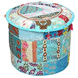 Stylo Culture Decorative Vintage Patchwork Pouf Cover Round Patchwork Embroidered Pouffe Ottoman Cover Turquoise Cotton Floral Traditional Furniture Footstool Seat Puff Cover (16x16x13)