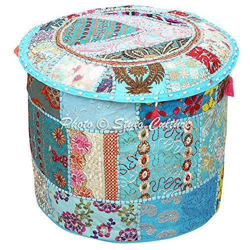 Stylo Culture Decorative Vintage Patchwork Pouf Cover Round Patchwork Embroidered Pouffe Ottoman Cover Turquoise Cotton Floral Traditional Furniture Footstool Seat Puff Cover (16x16x13) by Stylo Culture