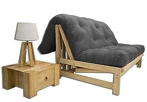 Sofá Cama A-Frame, futon Gris, 140x105x30 cm