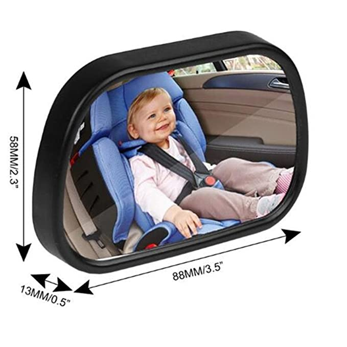 View Infant//Toddler In Back Seat Shatter-proof Safety New Sucktion Cup on Windshield or Clip on Car Sun Visor KOBWA Baby Car Mirror Rear Facing