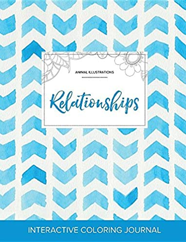 Adult Coloring Journal: Relationships (Animal Illustrations, Watercolor Herringbone)