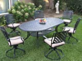 Outdoor Cast Aluminum Patio Furniture 7 Piece Dining Set KL208110T with 6 Swivel Rockers CBM1290 For Sale