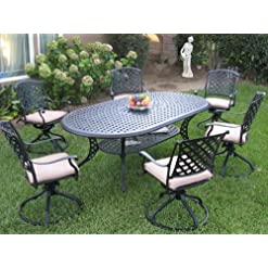 Garden and Outdoor Dining Set Outdoor Cast Aluminum Patio Furniture 7 Piece KL208110T with 6 Swivel Rockers CBM1290 patio furniture sets