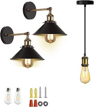 Jackyled Ul Industrial Wall Sconces 2 Pack With Led Bulb Industrial Mini Pendant Light Set Single Vintage Socket E26 E27 Lampholder Copper Amazon Com