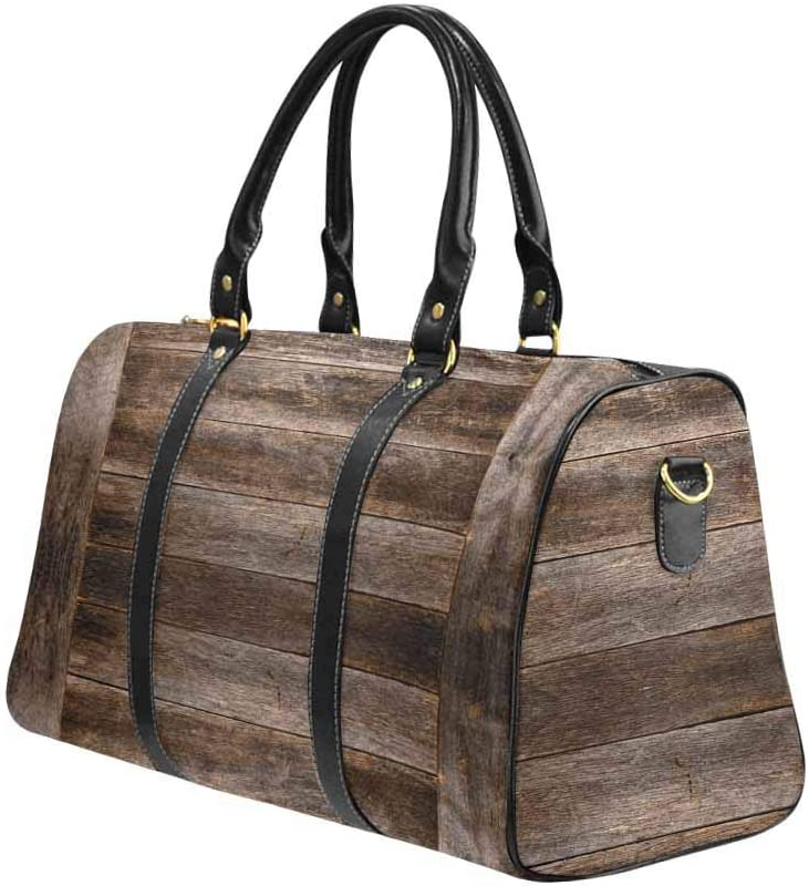 InterestPrint Weekender Bag Overnight Carry-on Tote Duffel Bag Vintage Rustic Barn Wood
