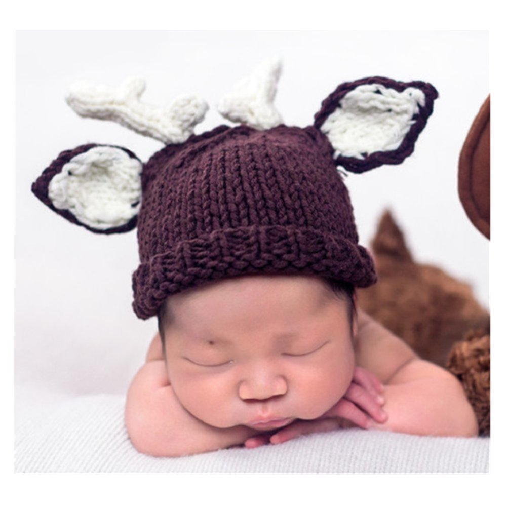 Fashion Cute Newborn Baby Photography Props Outfits Deer Hat Pant for Boys Girl s Photo Shoot Props White and Brown