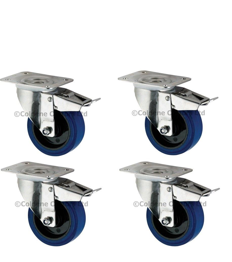 """Tente Heavy Duty Flight Case Castors 4"""" Blue Swivel Wheels Braked"""