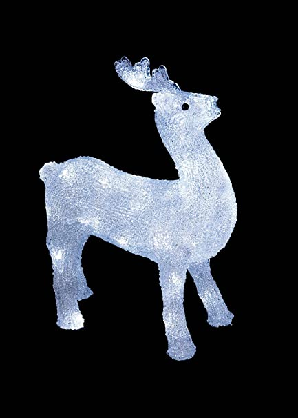 38cm led outdoor reindeer christmas xmas decoration white made by premier new