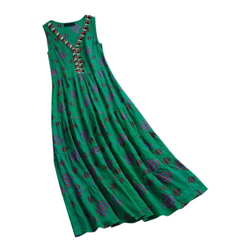 TOTOD Dress for Women Vintage Bohemia Style Ethnic Print Sleeveless V Neck Sleeveless Cotton Linen T-Shirt Maxi Dresses Green