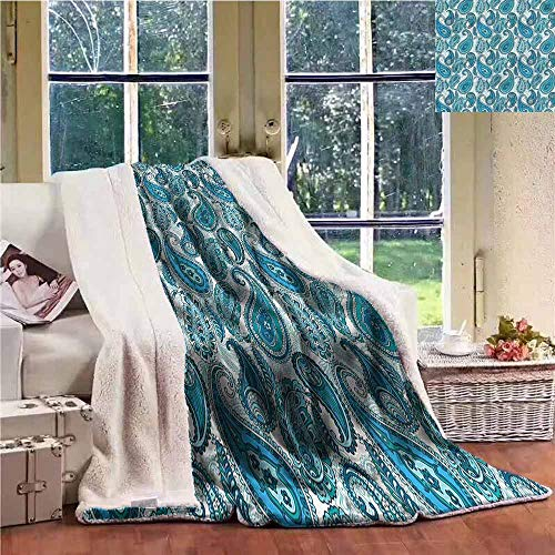Sunnyhome Flannel Double Blanket Paisley Ocean Stripe and Flower Personalized Baby Blanket W59x47L