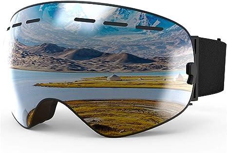 X-TIGER Maschera da Sci Occhiali da Sci Ski Snowboard Antivento Anti Fog UV 400 Protezione con Staccabile Grandangolare Lenti Goggles Ampio Angolo di Visione
