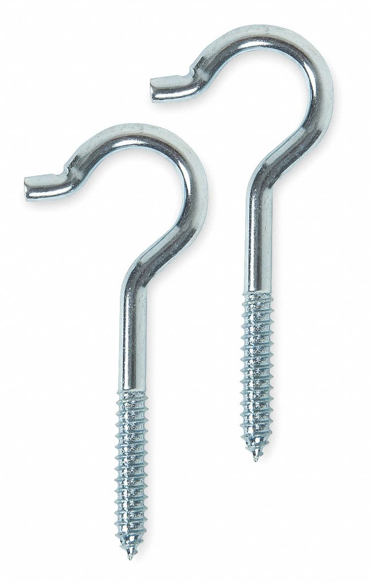 Screw In Ceiling Hook, 2 Hook(s), Steel, 20 PK