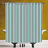 Fun Shower Curtain 3.0 [Geometric,Vertical Lines Straight Stripes with Curled Shapes Vivid Pattern Abstract Design,Multicolor] Polyester Fabric Bath Decorative Curtain Ideas