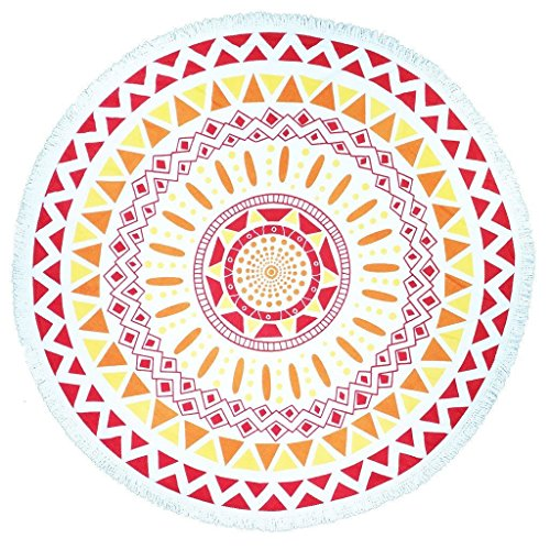European Style Thin Polyester Fiber Beach Yoga Towel Round Bed Sheet Tapestry Tablecloth,Pink, 60 inches diameter.