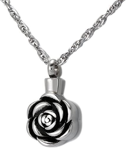 Funnel Round With Floral Design Pendant Cremation Jewelry Keepsake Urn w// Chain