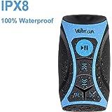 Walkercam S1 Reproductor de música MP3 100% Impermeable con Radio FM y Auriculares subacuáticos para natación, Deportes acuáticos, Cable Corto, 8 GB - 1 año de garantía de reemplazo