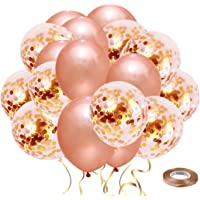 60 Upgraded Rose Gold Balloons, Rose Gold Confetti Balloons w/Ribbon, Latex Party Balloons for Wedding Graduation Birthday Parties Decorations (Rose Gold, 60PCS)