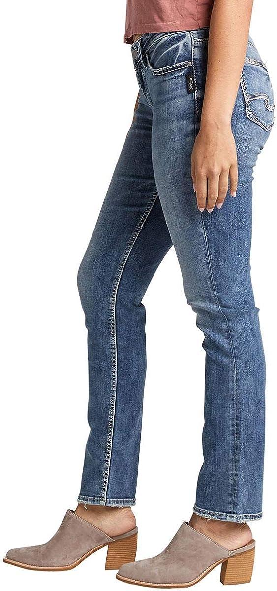 Womens Suki Curvy Fit Mid Rise Straight Leg Jean Silver Jeans Co