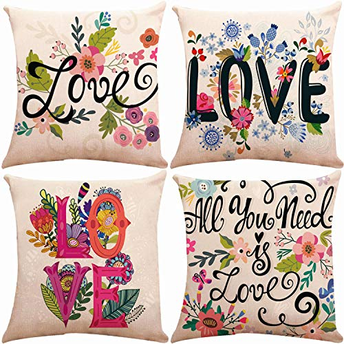 ZUEXT Spring Floral Love Theme Throw Pillow Covers 18 x 18 Inch, Set of 4 Square Cotton Linen Home Decorative Cushion Pillow Case Cover for Sofa Bench Bed Couch, Mother's (Set Floral Sofa)