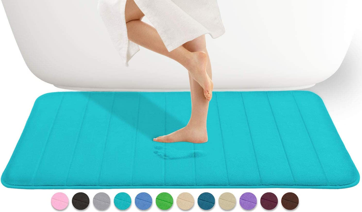 Yimobra Memory Foam Bath Mat Large Size 44.1 x 24 Inches, Comfortable, Soft, Super Water Absorption, Machine Wash, Non-Slip, Thick, Easier to Dry for Bathroom Floor Rug, Lake Blue