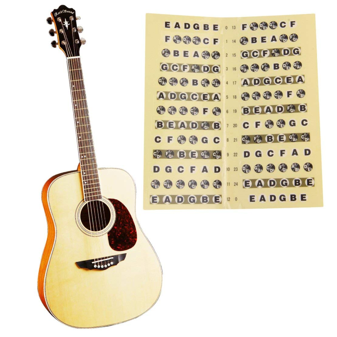 Pegatina de diapasón de guitarra en papel negro y amarillo 24 ...