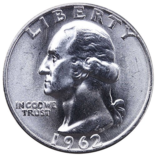 1962 D U.S. Washington Quarter 90% Silver Coin, 1/4 Brilliant Uncirculated Mint State Condition