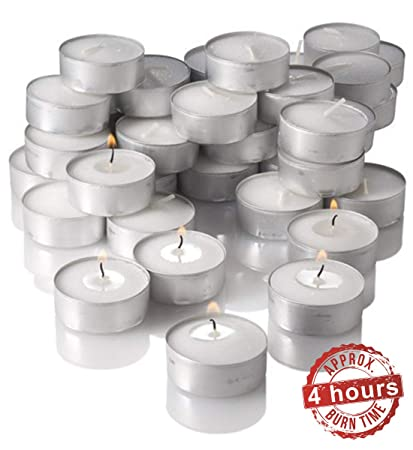 Mayassar Smokeless Wax Tealight Candle Set of 50 with 4 hours burning time Candles at amazon