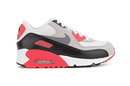 low priced d1592 54347 Nike Air Max 90 Premium Infrared Preschool Boys White Neutral  Grey Black Cool