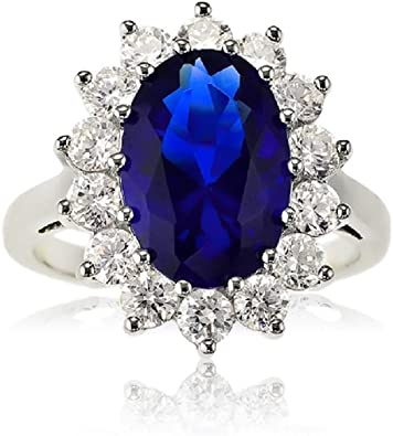 Sterling Silver Large Oval Created Blue Sapphire And Clear Cubic Zirconia Statement Bridal Engagement Princess Diana Kate Middleton Royal Ring Amazon Com