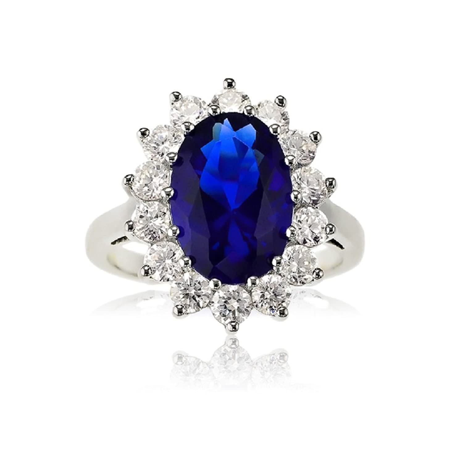 Sterling silver oval blue sapphire and cz princess diana for Princess diana jewelry box
