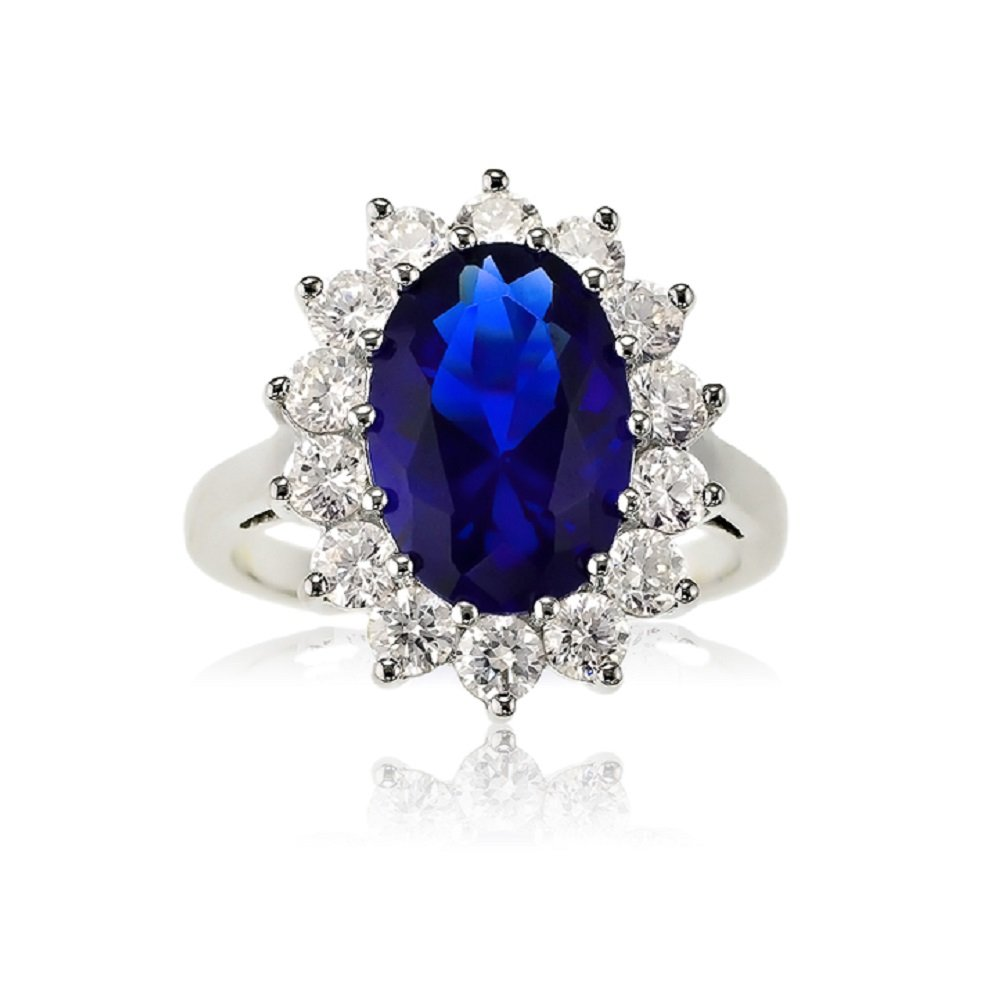 Sterling Silver Oval Blue Sapphire and CZ Princess Diana/Kate Middleton Ring