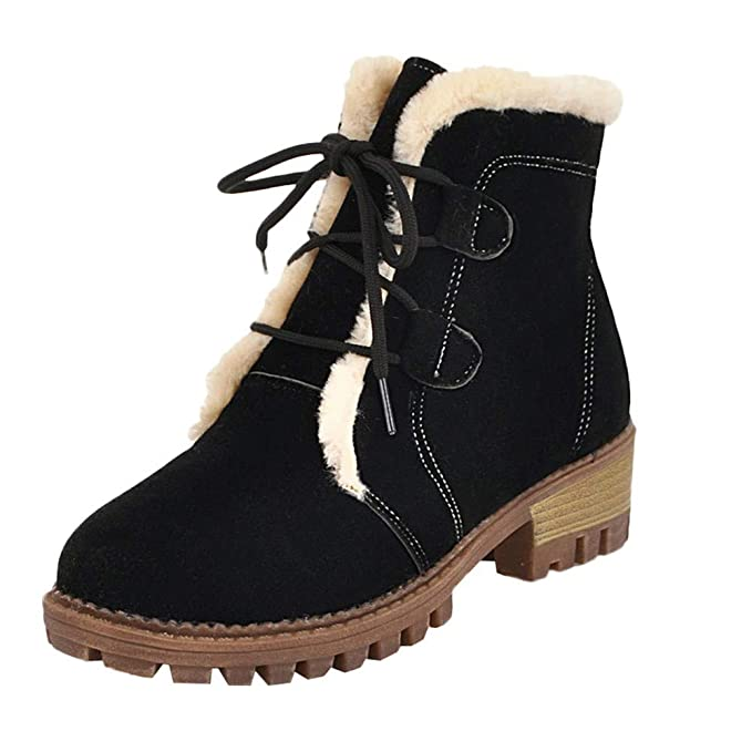 Amazon.com: Clearance ❤ Women Boots JJLIKER Leisure Plus Velvet Shoes Keep Warm Lace-Up Non-Slip Round Toe Snow Boots: Clothing