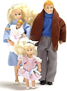 Dollhouse Miniature 1:12 Scale Modern Family of 4 People Mum Dad Girl Baby