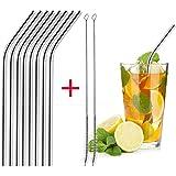 Rameng- Paille INOX, Lot de 8 Pailles en Acier Inoxydable Réutilisables pour Cocktail avec 2Pcs Brosse de Nettoyage (8Pcs)