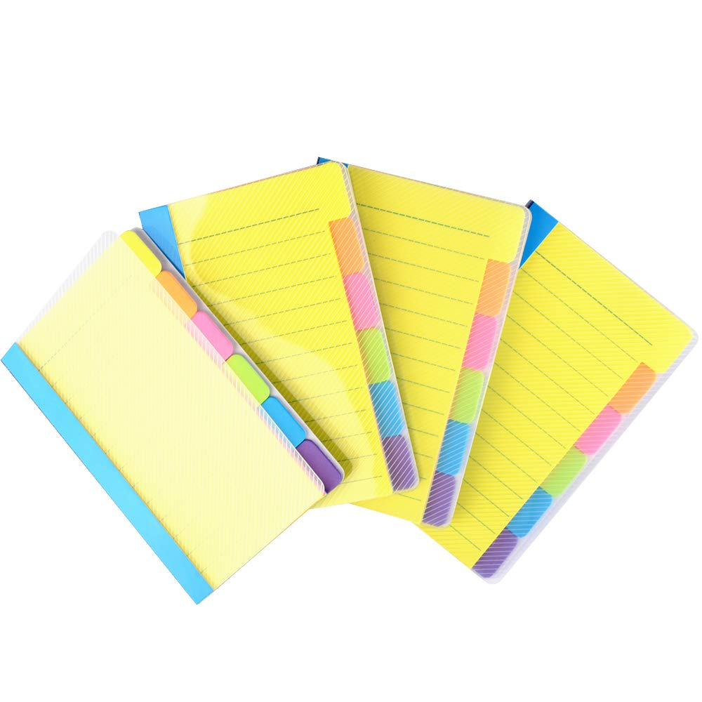 Cehomi Divider Sticky Notes, Self-Stick Note Pad, Office & School Supplies. Asorted Neon Colors, 4x6 inches, 4 Pack