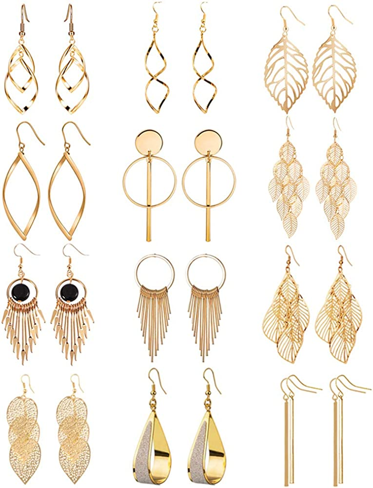 12 Pairs Drop Dangle Earrings boho Fashion Jewelry Vintage Statement Boho Bohemian Earrings Set for Women Girls