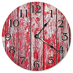 12 Vintage Weathered Red Barn Wood Boards Clock Printed Wood Clock Wooden Decorative Round Wall Clock